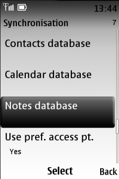Select Notes database