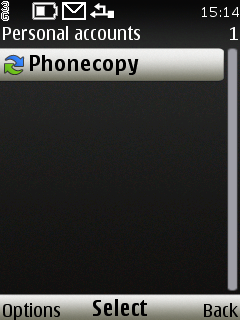 Go back to the Personal accounts and select PhoneCopy -Options