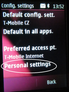 Choose Personal settings